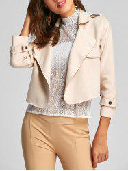 Faux Suede Turndown Collar Jacket -