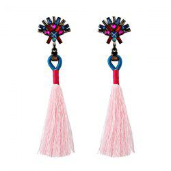 Artificial Crystal Geometric Tassel Earrings -