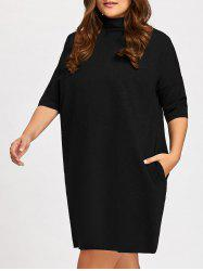 Casual Plus Size Mock Neck Dolman Sleeve Tunic Dress -