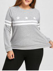 Plus Size Long Sleeve Stripe Stars Graphic  T-shirt -