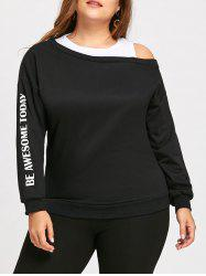 Plus Size Awesome Cutout Shoulder Long Sweatshirt -