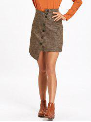 Asymmetrical Plaid Button Down Skirt -