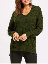 Drop Shoulder High Low Cable Knit Sweater -