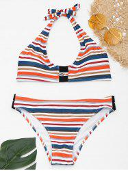 Halter Striped Bikini with Padded Cups -