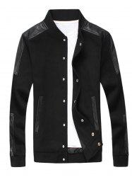 Faux Leather Panel Snap Button Wool Blend Jacket -