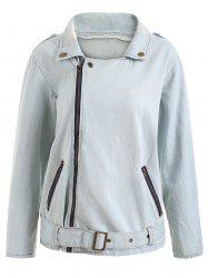 Zip Fly Ripped Denim Jacket -