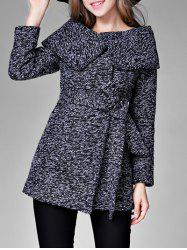 High Waisted Tweed Coat with Belt -