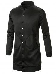Single Breasted Slot Pocket Stand Collar Coat -