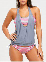 Backless Halter Striped Blouson Tankini Set -