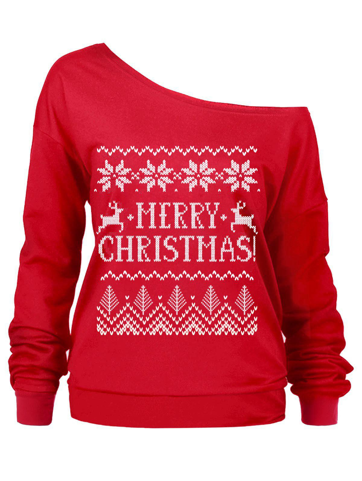 Christmas Letters Print Skew Neck SweatshirtWOMEN<br><br>Size: L; Color: RED; Material: Polyester; Shirt Length: Regular; Sleeve Length: Full; Style: Casual; Pattern Style: Letter,Print; Season: Fall,Spring,Winter; Weight: 0.3600kg; Package Contents: 1 x Sweatshirt;