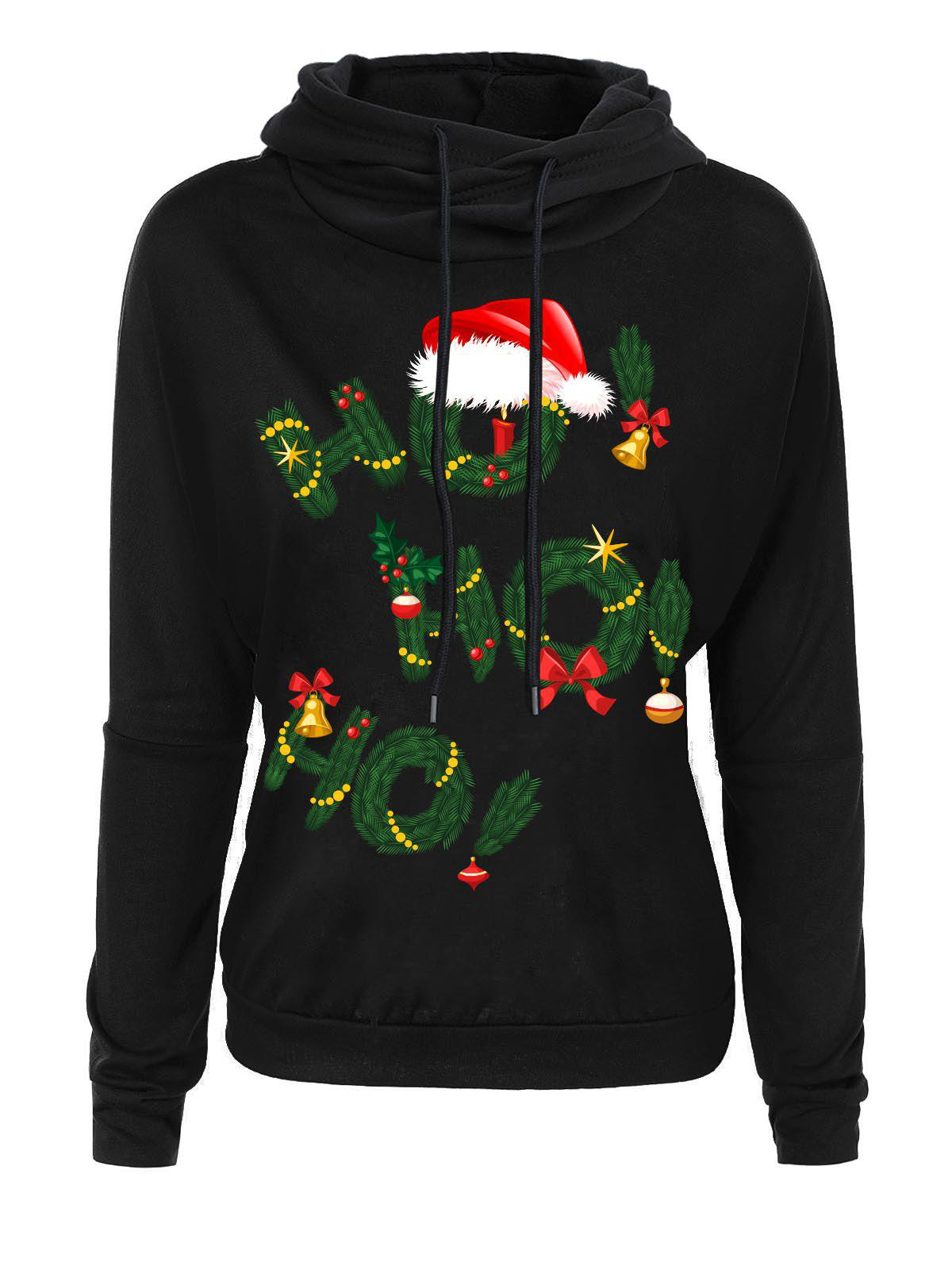 Christmas Grass Letters Print Drop Shoulder HoodieWOMEN<br><br>Size: 2XL; Color: BLACK; Material: Polyester; Shirt Length: Regular; Sleeve Length: Full; Style: Casual; Pattern Style: Letter,Print; Season: Fall,Spring,Winter; Weight: 0.3600kg; Package Contents: 1 x Hoodie;