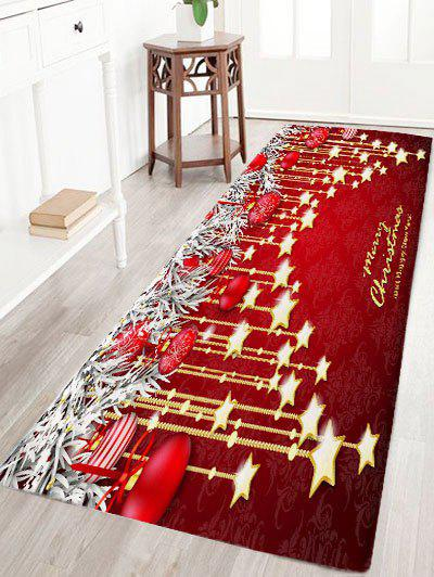 Christmas Hanging Ball Star Print Nonslip Flannel Bath RugHOME<br><br>Size: W24 INCH * L71 INCH; Color: DARK RED; Products Type: Bath rugs; Materials: Flannel; Pattern: Ball,Star; Style: Festival; Shape: Rectangular; Package Contents: 1 x Rug;