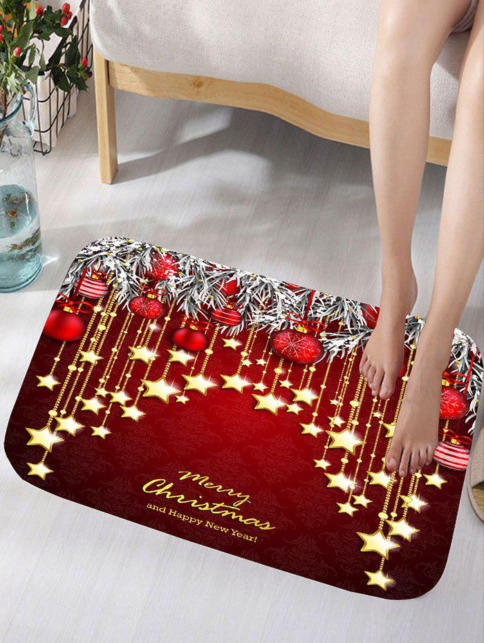 Christmas Hanging Ball Star Print Nonslip Flannel Bath RugHOME<br><br>Size: W16 INCH * L24 INCH; Color: DARK RED; Products Type: Bath rugs; Materials: Flannel; Pattern: Ball,Star; Style: Festival; Shape: Rectangular; Package Contents: 1 x Rug;