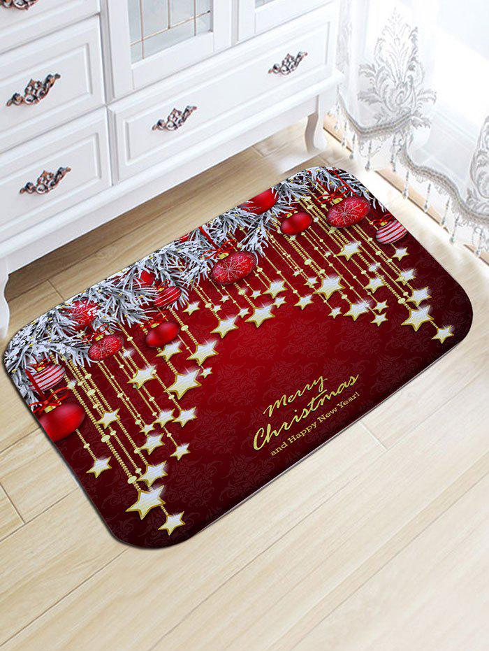 Fashion Christmas Hanging Ball Star Print Nonslip Flannel Bath Rug