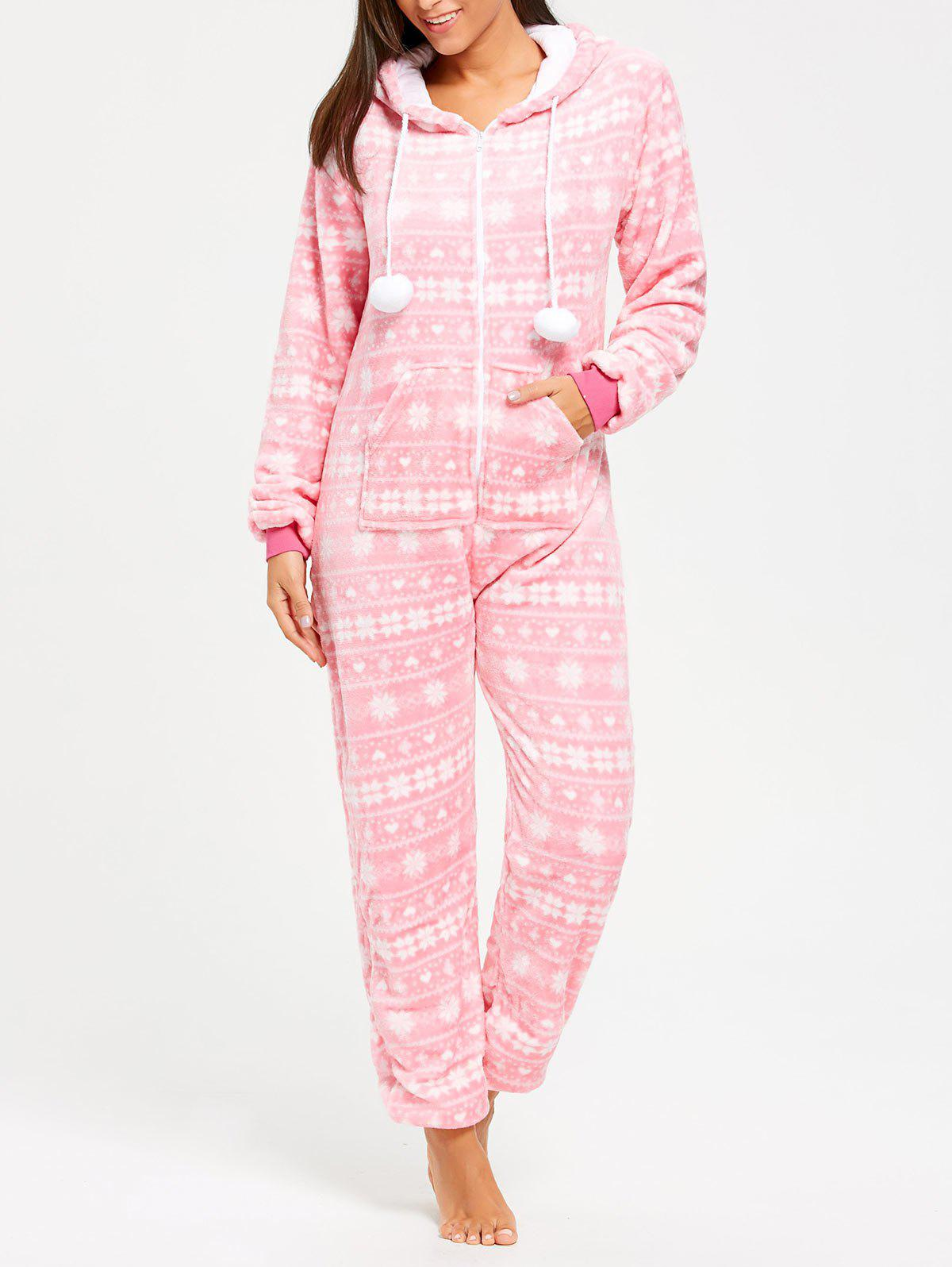 Hooded Zip Fleece Jumpsuit SleepwearWOMEN<br><br>Size: XL; Color: PINK; Material: Polyester; Pattern Type: Print; Weight: 0.3500kg; Package Contents: 1 x Jumpsuit;