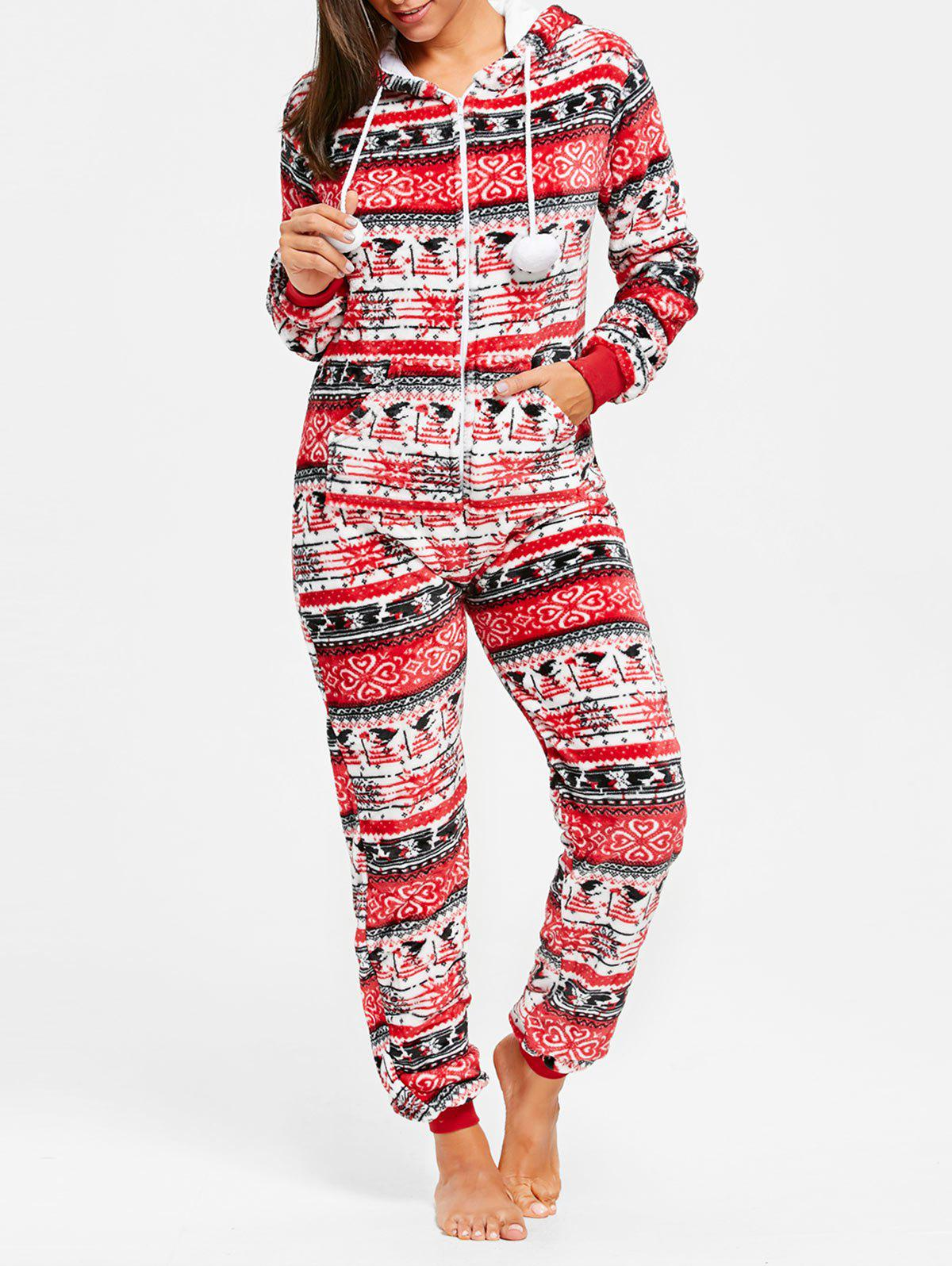 Christmas Hooded Zip Jumpsuit SleepwearWOMEN<br><br>Size: L; Color: RED; Material: Polyester; Pattern Type: Print; Weight: 0.3500kg; Package Contents: 1 x Jumpsuit;
