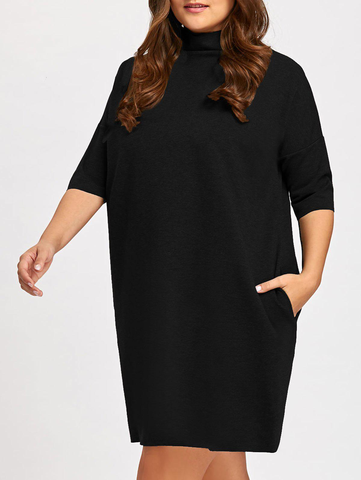 Buy Casual Plus Size Mock Neck Dolman Sleeve Tunic Dress