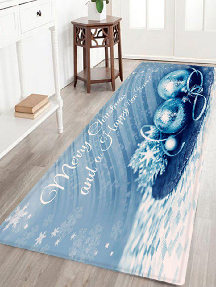 Merry Christmas Balls Print Skidproof Flannel Bath RugHOME<br><br>Size: W24 INCH * L71 INCH; Color: BLUE; Products Type: Bath rugs; Materials: Flannel; Pattern: Ball,Letter; Style: Festival; Shape: Rectangular; Package Contents: 1 x Rug;
