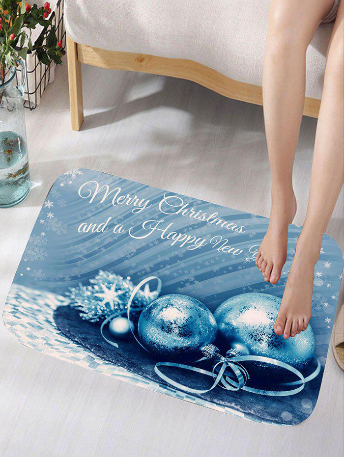 Merry Christmas Balls Print Skidproof Flannel Bath RugHOME<br><br>Size: W16 INCH * L24 INCH; Color: BLUE; Products Type: Bath rugs; Materials: Flannel; Pattern: Ball,Letter; Style: Festival; Shape: Rectangular; Package Contents: 1 x Rug;