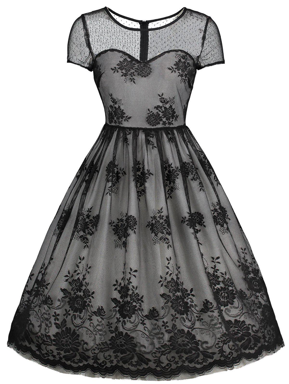 Vintage Overlay Floral Lace Short Mesh DressWOMEN<br><br>Size: 2XL; Color: BLACK; Style: Vintage; Material: Polyester; Silhouette: A-Line; Dresses Length: Knee-Length; Neckline: Round Collar; Sleeve Length: Short Sleeves; Embellishment: Lace,Mesh; Pattern Type: Solid; With Belt: No; Season: Fall,Spring,Summer,Winter; Weight: 0.3800kg; Package Contents: 1 x Dress;
