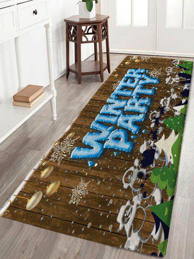 Christmas Snowmen Winter Party Wood Print Nonslip Flannel Bath RugHOME<br><br>Size: W24 INCH * L71 INCH; Color: BROWN; Products Type: Bath rugs; Materials: Flannel; Pattern: Letter,Snowman,Wood Grain; Style: Festival; Shape: Rectangular; Package Contents: 1 x Rug;