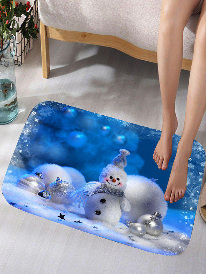 Christmas Snowman Snowball Print Flannel Skidproof Bath MatHOME<br><br>Size: W16 INCH * L24 INCH; Color: BLUE; Products Type: Bath rugs; Materials: Flannel; Pattern: Ball,Snowman; Style: Festival; Shape: Rectangular; Package Contents: 1 x Rug;