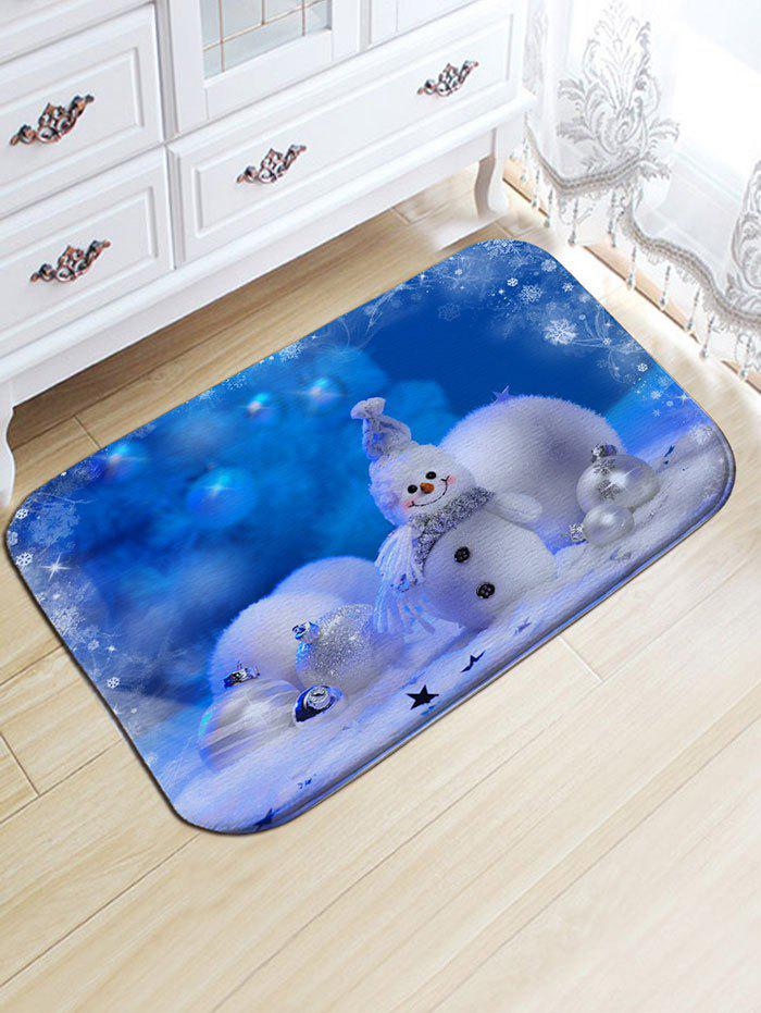 Christmas Snowman Snowball Print Flannel Skidproof Bath MatHOME<br><br>Size: W20 INCH * L31.5 INCH; Color: BLUE; Products Type: Bath rugs; Materials: Flannel; Pattern: Ball,Snowman; Style: Festival; Shape: Rectangular; Package Contents: 1 x Rug;