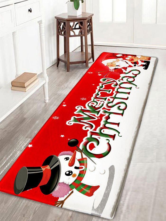 Christmas Snowman and Santa Claus Print Flannel Nonslip Bath RugHOME<br><br>Size: W16 INCH * L47 INCH; Color: RED; Products Type: Bath rugs; Materials: Flannel; Pattern: Letter,Santa Claus,Snowman; Style: Festival; Shape: Rectangular; Package Contents: 1 x Rug;