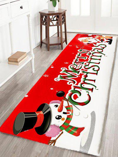 Latest Christmas Snowman and Santa Claus Print Flannel Nonslip Bath Rug