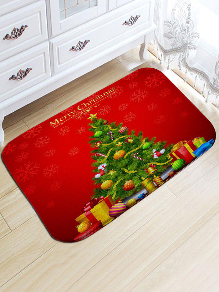 Christmas Tree and Gift Print Flannel Antiskid Bath RugHOME<br><br>Size: W20 INCH * L31.5 INCH; Color: RED; Products Type: Bath rugs; Materials: Flannel; Pattern: Christmas Tree,Gift; Style: Festival; Shape: Rectangular; Package Contents: 1 x Rug;