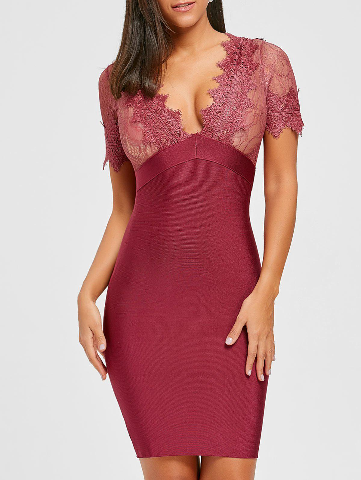 Latest Plunging Neck Lace Insert Bandage Dress