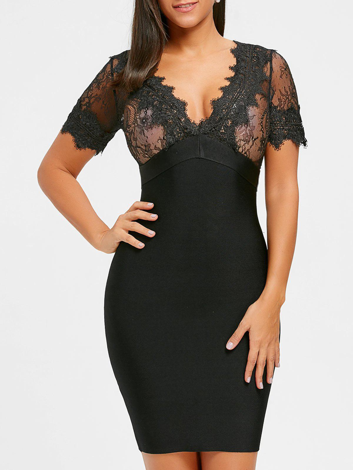 Shops Plunging Neck Lace Insert Bandage Dress