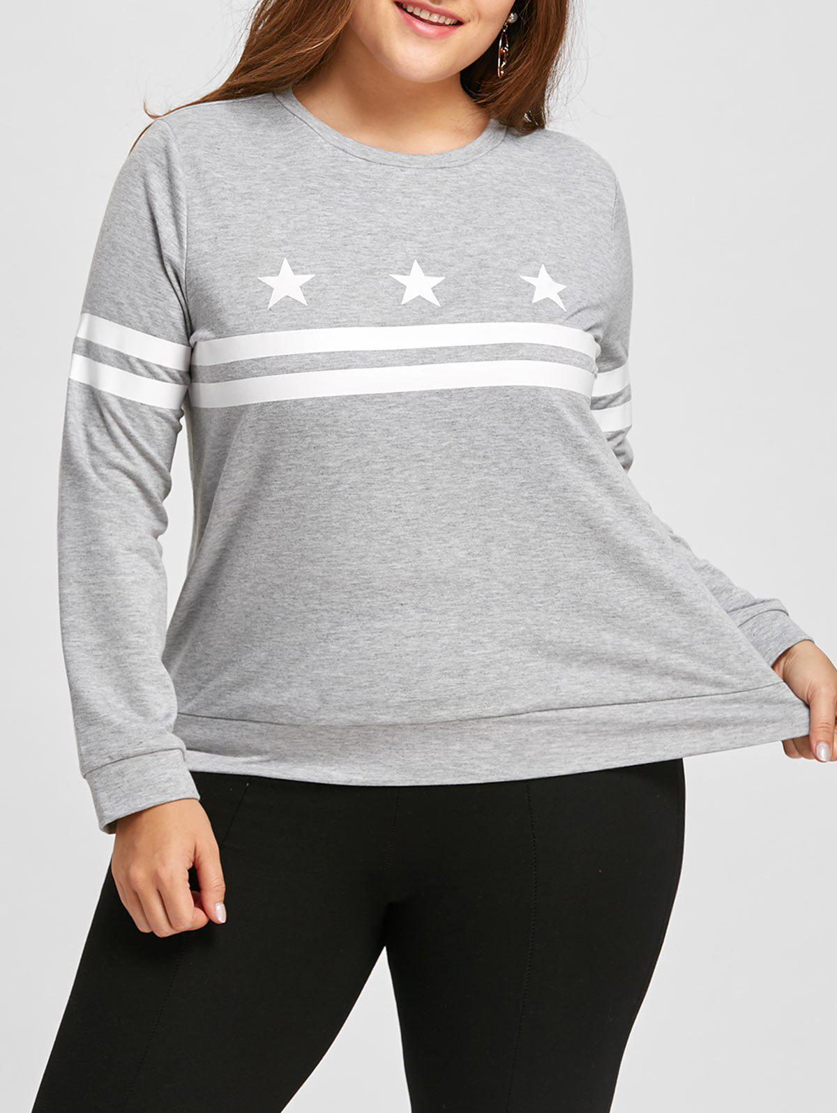 New Plus Size Long Sleeve Stripe Stars Graphic  T-shirt