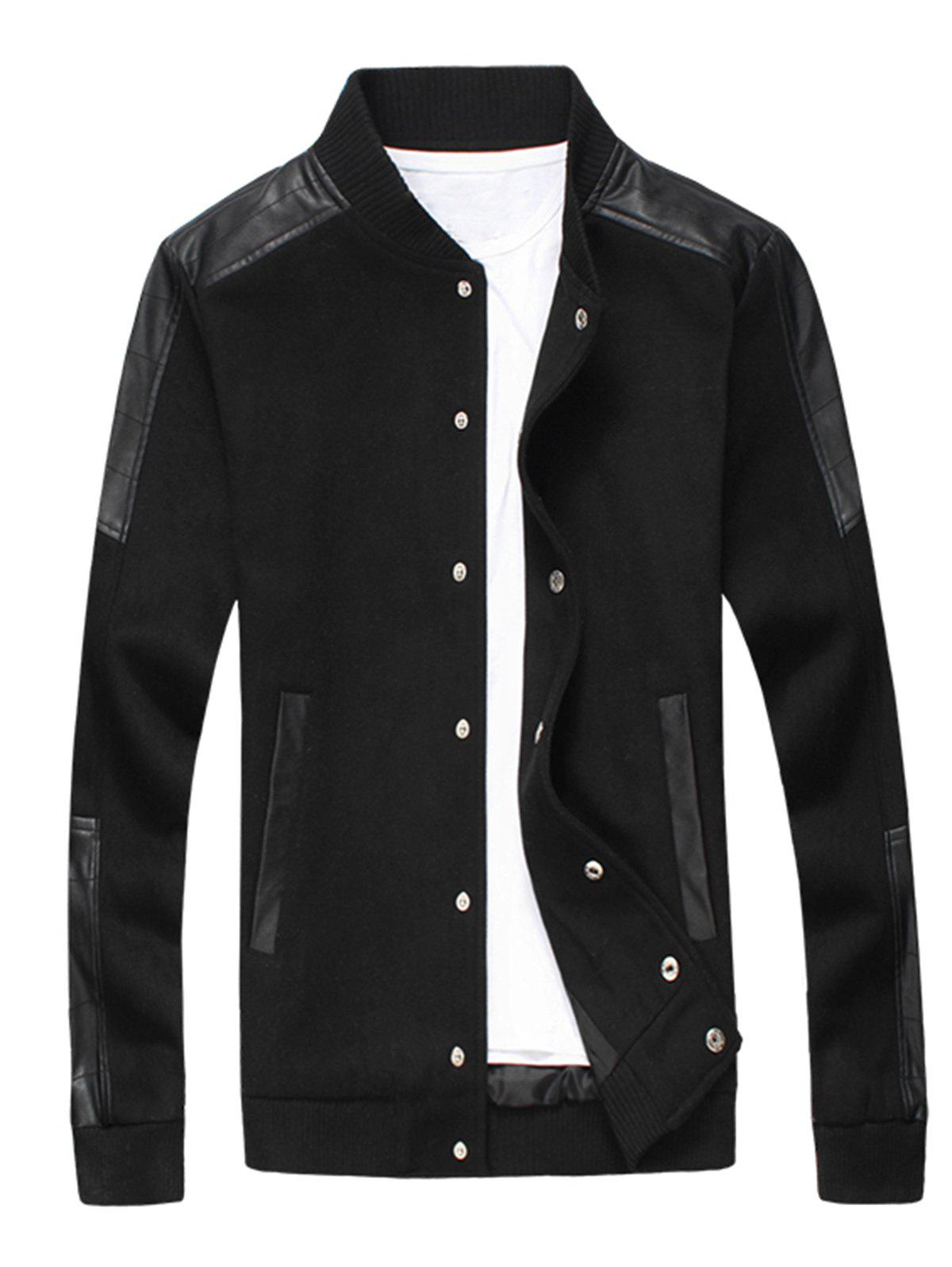Store Faux Leather Panel Snap Button Wool Blend Jacket