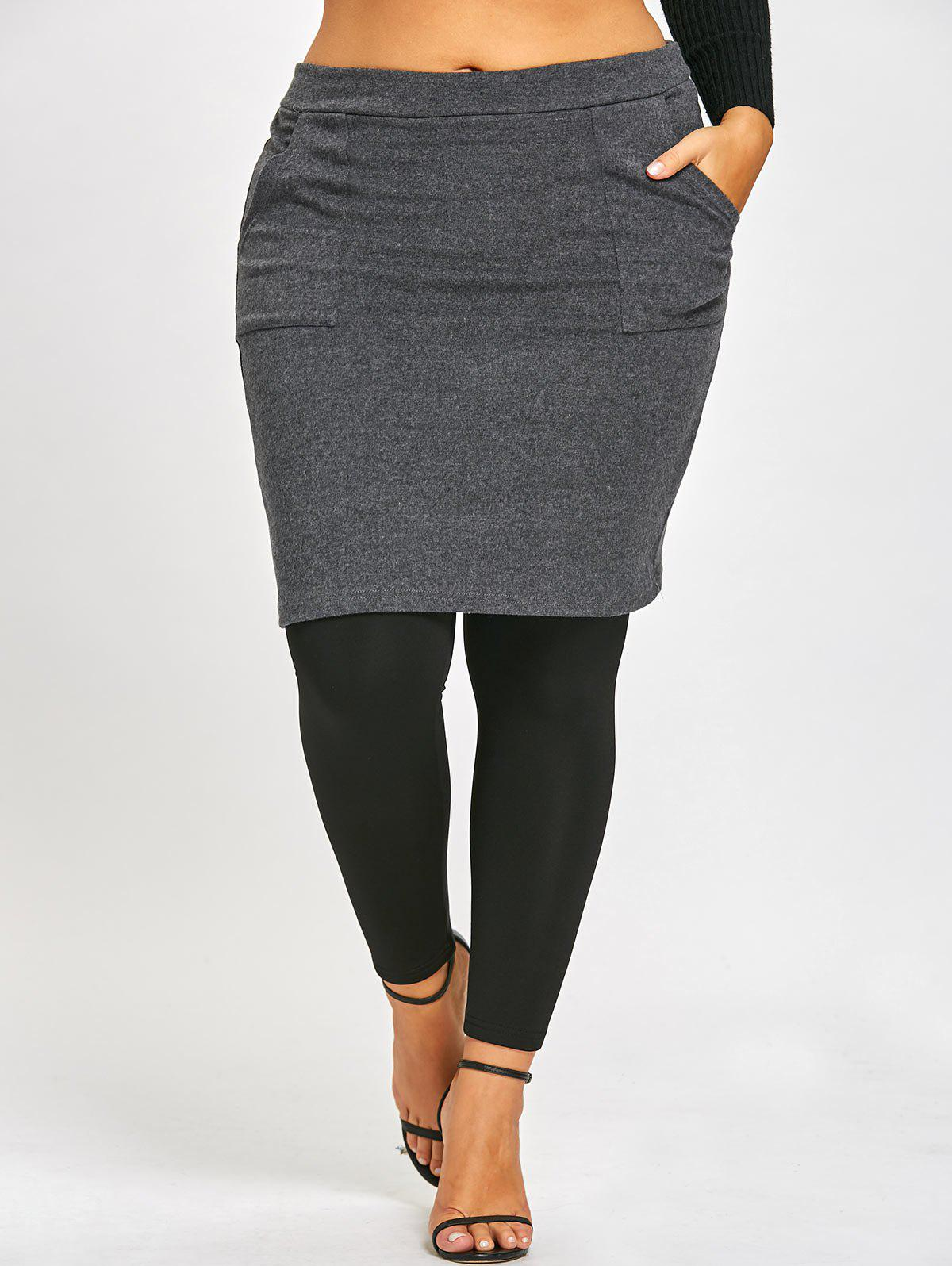 Plus Size Skirted LeggingsWOMEN<br><br>Size: 5XL; Color: BLACK AND GREY; Style: Fashion; Length: Normal; Material: Polyester; Fit Type: Skinny; Waist Type: Mid; Closure Type: Elastic Waist; Pattern Type: Others; Pant Style: Pencil Pants; Weight: 0.5000kg; Package Contents: 1 x Pants;