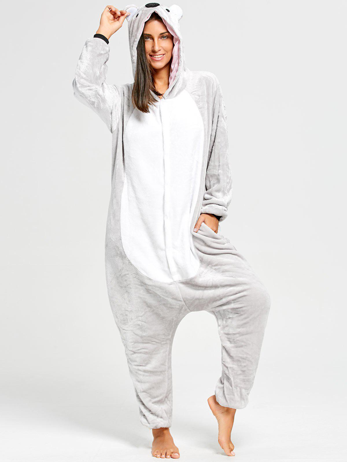 Koala Animal Onesie Pjs for WomenWOMEN<br><br>Size: S; Color: GRAY; Material: Polyester; Fabric Type: Fleece; Pattern Type: Animal; Weight: 0.5000kg; Package Contents: 1 x Pajama;
