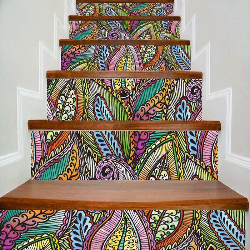Bohemian Colorful Plant Print Decorative DIY Stair StickersHOME<br><br>Size: 100*18CM*6PCS; Color: COLORFUL; Wall Sticker Type: Plane Wall Stickers; Functions: Stair Stickers; Pattern Type: Plant; Material: PVC; Feature: Removable; Weight: 0.4800kg; Package Contents: 6 x Stair Stickers (Pcs);