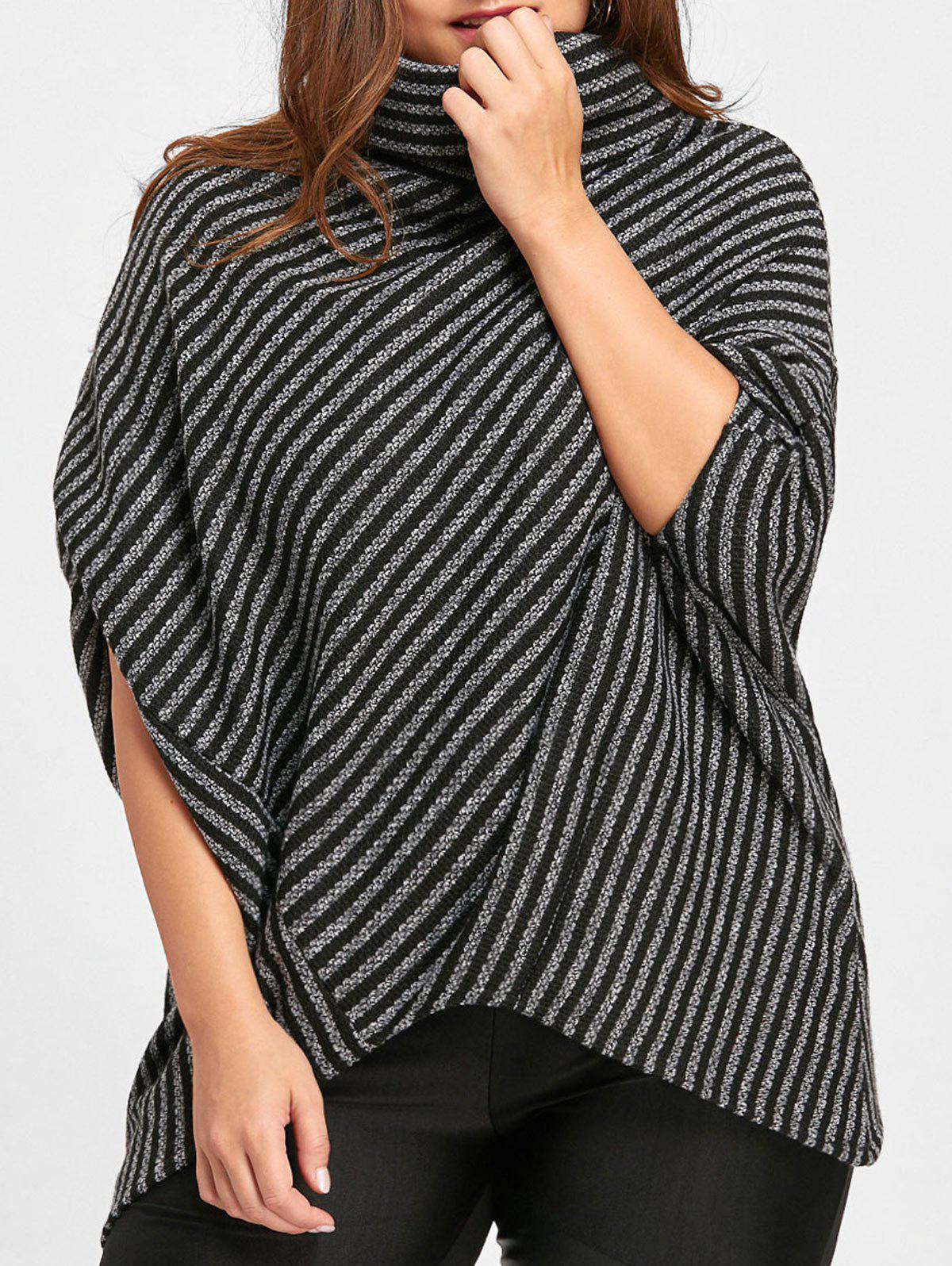 Affordable Plus Size Striped Asymmetrical Poncho Sweater