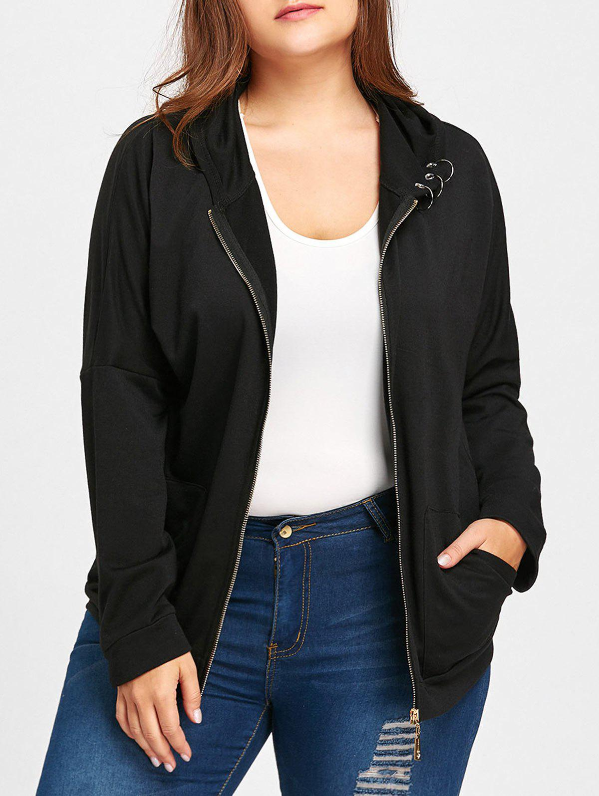 Hot Hooded Ring Embellished Plus Size Jacket