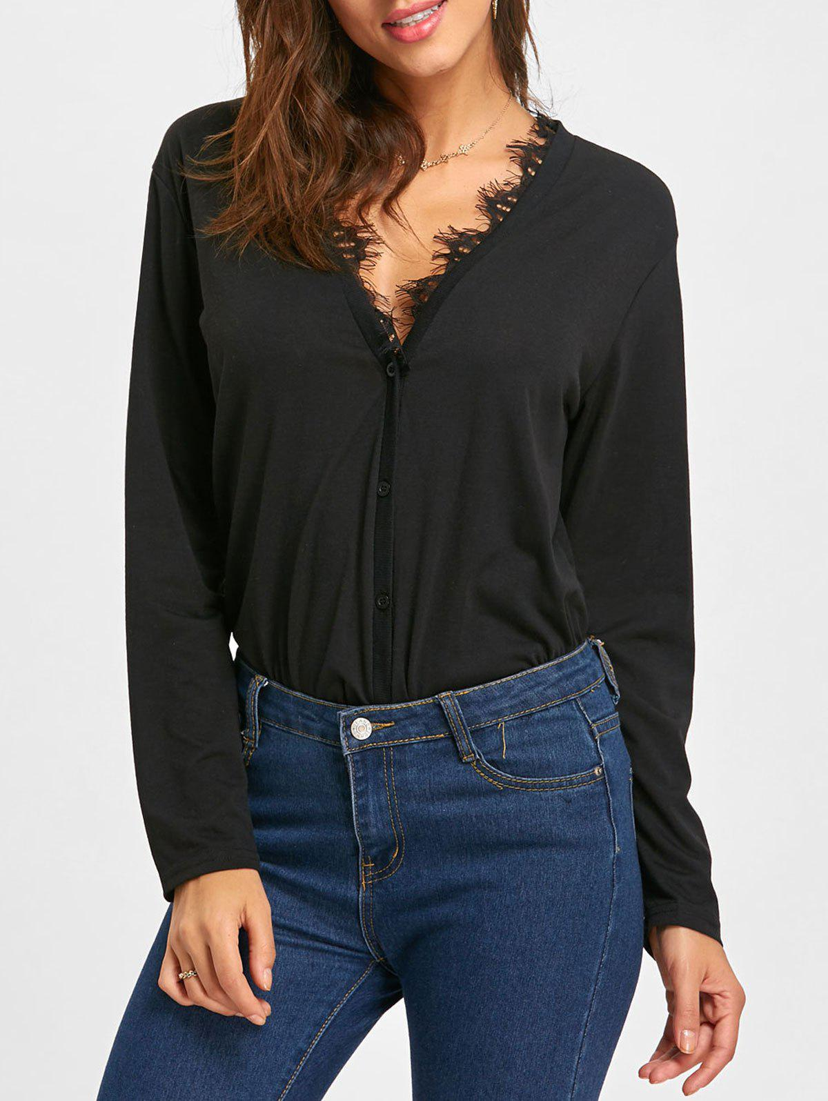 Crochet Button Up Low Cut BlouseWOMEN<br><br>Size: S; Color: BLACK; Style: Fashion; Material: Polyester; Shirt Length: Regular; Sleeve Length: Full; Collar: V-Neck; Pattern Type: Solid; Season: Fall,Spring; Weight: 0.2700kg; Package Contents: 1 x Blouse;