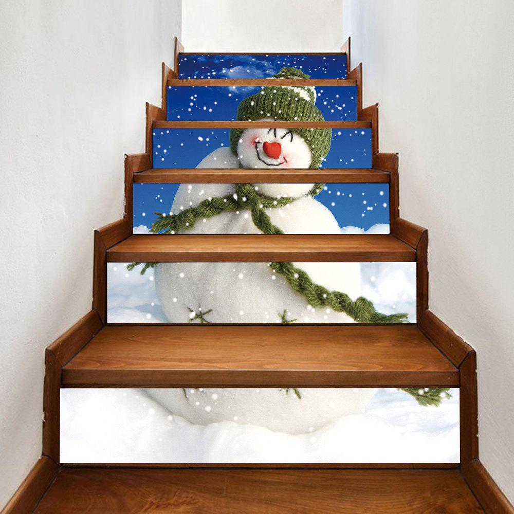 Christmas Snowman Print DIY Decorative Stair StickersHOME<br><br>Size: 100*18CM*6PCS; Color: COLORMIX; Wall Sticker Type: 3D Wall Stickers; Functions: Stair Stickers; Pattern Type: Snowman; Material: PVC; Feature: Removable; Weight: 0.3600kg; Package Contents: 1 x Stair Stickers (Set);
