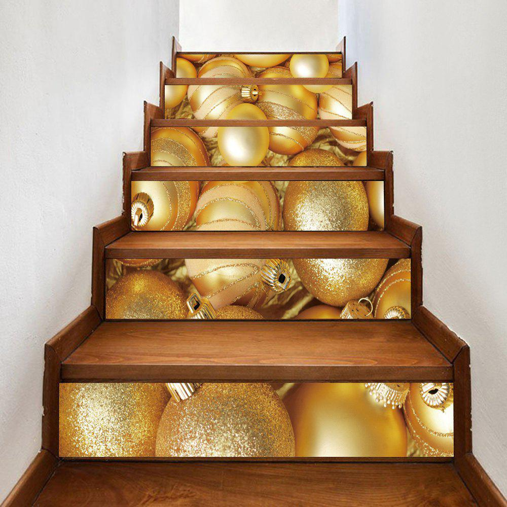 Christmas Golden Balls Printed DIY Decorative Stair StickersHOME<br><br>Size: 100*18CM*6PCS; Color: GOLDEN; Wall Sticker Type: 3D Wall Stickers; Functions: Stair Stickers; Pattern Type: Ball; Material: PVC; Feature: Removable; Weight: 0.3600kg; Package Contents: 1 x Stair Stickers (Set);
