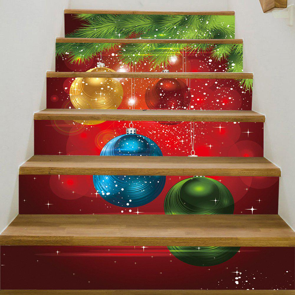 Christmas Pine Baubles Pattern Decorative Stair StickersHOME<br><br>Size: 100*18CM*6PCS; Color: COLORMIX; Wall Sticker Type: Plane Wall Stickers; Functions: Stair Stickers; Theme: Christmas; Pattern Type: Ball,Plant; Material: PVC; Feature: Removable; Weight: 0.3600kg; Package Contents: 1 x Stair Stickers;