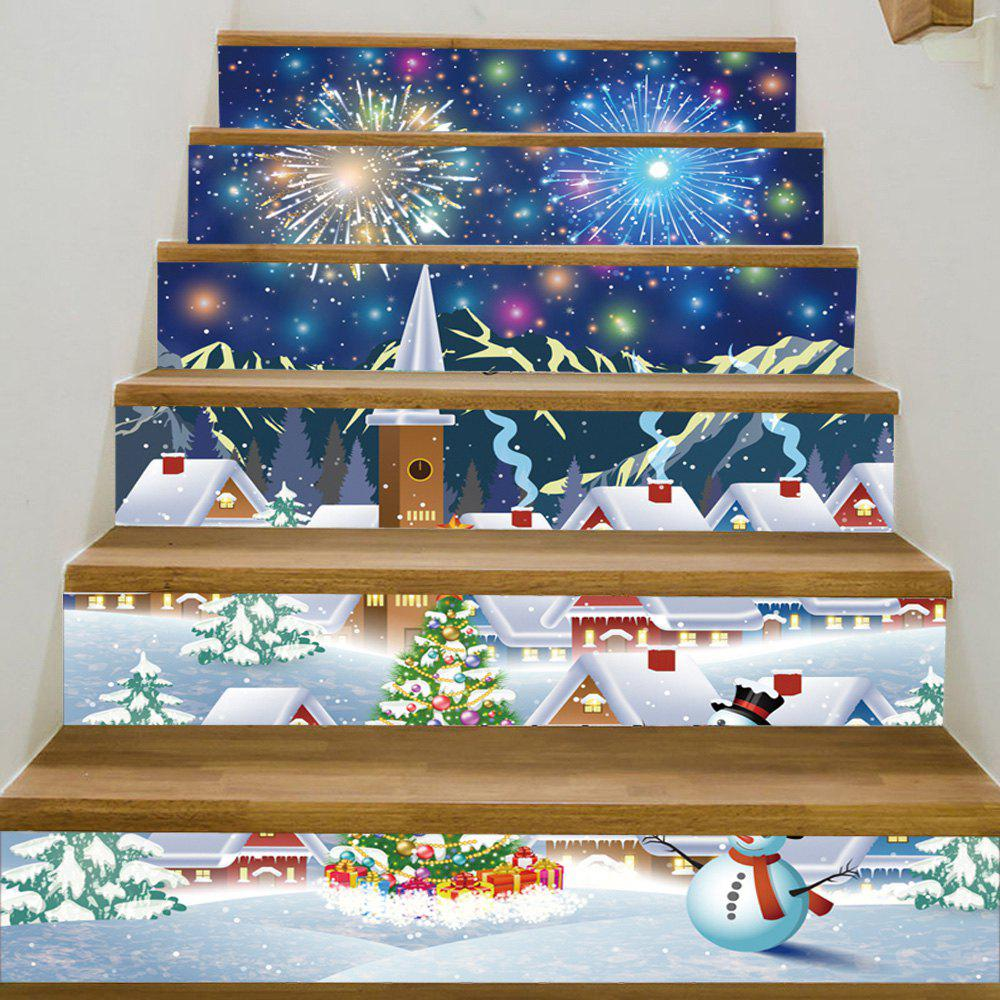 Christmas Tree Village Pattern Decorative Stair StickersHOME<br><br>Size: 100*18CM*6PCS; Color: COLORMIX; Wall Sticker Type: Plane Wall Stickers; Functions: Stair Stickers; Theme: Christmas; Pattern Type: Christmas Tree,Snowman; Material: PVC; Feature: Removable; Weight: 0.3600kg; Package Contents: 1 x Stair Stickers;