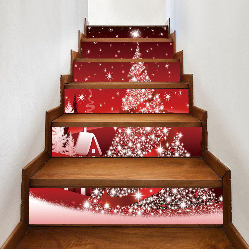 Christmas Star Tree House Pattern Decorative Stair StickersHOME<br><br>Size: 100*18CM*6PCS; Color: RED; Wall Sticker Type: Plane Wall Stickers; Functions: Stair Stickers; Theme: Christmas; Pattern Type: Christmas Tree; Material: PVC; Feature: Removable; Weight: 0.3600kg; Package Contents: 1 x Stair Stickers;