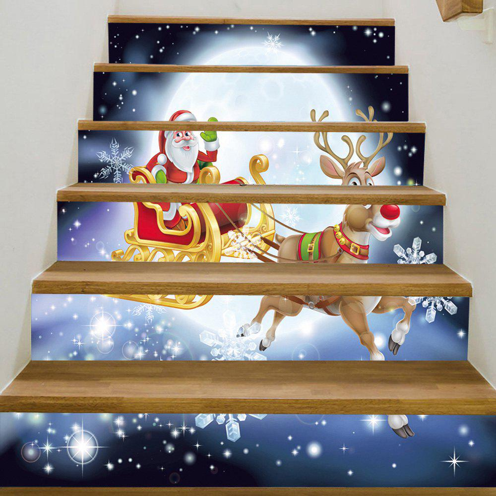 Christmas Moon Sleigh Pattern Decorative Stair StickersHOME<br><br>Size: 100*18CM*6PCS; Color: COLORMIX; Wall Sticker Type: Plane Wall Stickers; Functions: Stair Stickers; Theme: Christmas; Pattern Type: Animal,Santa Claus; Material: PVC; Feature: Removable; Weight: 0.3600kg; Package Contents: 1 x Stair Stickers;