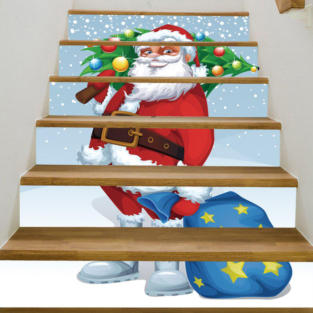 Christmas Santa Tree Pattern Decorative Stair StickersHOME<br><br>Size: 100*18CM*6PCS; Color: COLORMIX; Wall Sticker Type: Plane Wall Stickers; Functions: Stair Stickers; Theme: Christmas; Pattern Type: Christmas Tree,Santa Claus; Material: PVC; Feature: Removable; Weight: 0.3600kg; Package Contents: 1 x Stair Stickers;
