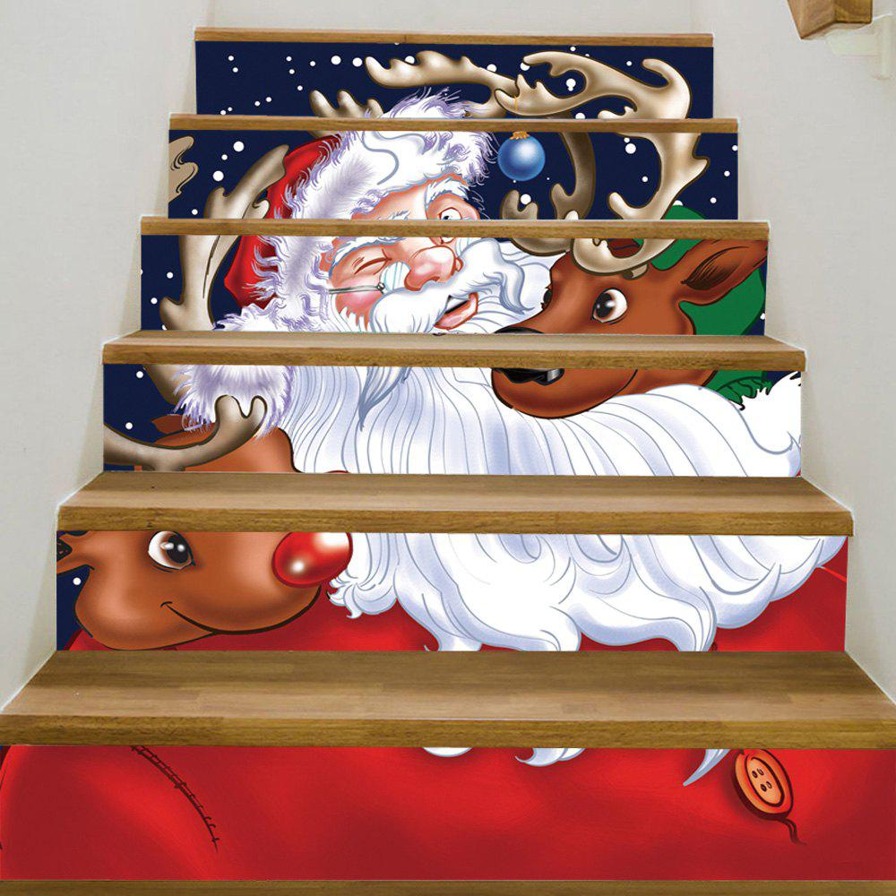Christmas Santa Deers Pattern Decorative Stair StickersHOME<br><br>Size: 100*18CM*6PCS; Color: COLORMIX; Wall Sticker Type: Plane Wall Stickers; Functions: Stair Stickers; Pattern Type: Ball,Santa Claus; Material: PVC; Feature: Removable; Weight: 0.3600kg; Package Contents: 1 x Stair Stickers;