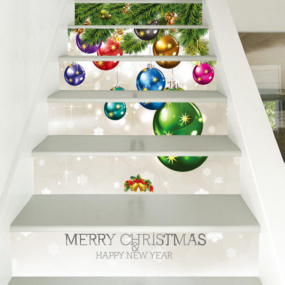 Christmas Small Bells Print Home Stairs Stickers 6pcsHOME<br><br>Size: 100*18CM*6PCS; Color: COLORMIX; Wall Sticker Type: Plane Wall Stickers; Functions: Stair Stickers; Theme: Christmas; Pattern Type: Graphic; Material: PVC; Feature: Removable; Weight: 0.3600kg; Package Contents: 6 x Stair Stickers;