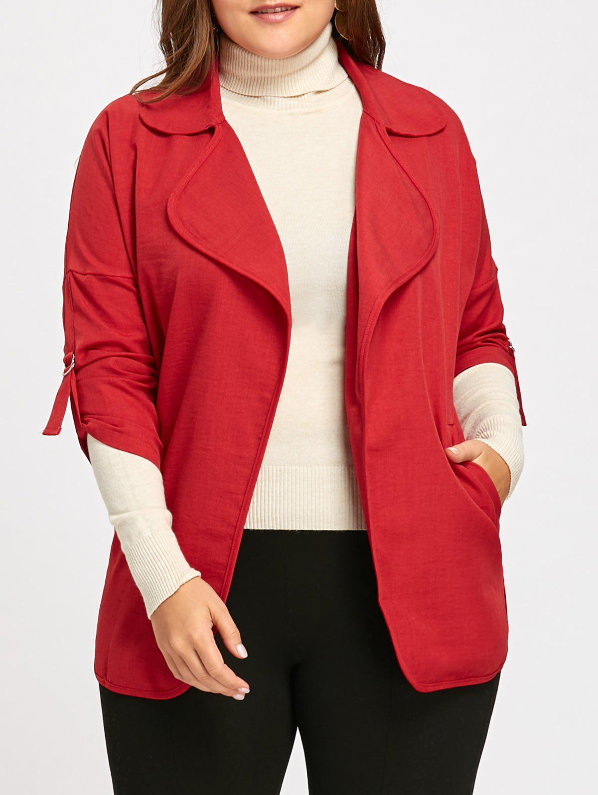 Roll Up Sleeve Turndown Collar Plus Size Trench CoatWOMEN<br><br>Size: 5XL; Color: RED; Clothes Type: Trench; Material: Polyester; Type: Slim; Shirt Length: Long; Sleeve Length: Full; Collar: Turn-down Collar; Closure Type: Double Breasted; Pattern Type: Solid; Embellishment: Pockets; Style: Fashion; Season: Fall; Weight: 0.4200kg; Package Contents: 1 x Coat;